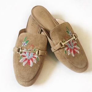 Franco Sarto Dalton Suede Embroidered Mule Slides